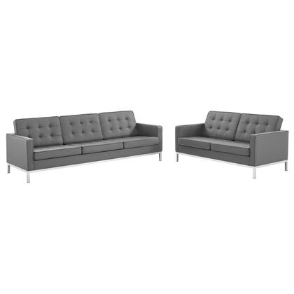 Loft Collection EEI-4106-SLV-GRY-SET Sofa and Loveseat Set with Dense Foam Padded Cushion  Non-Marking Foot Caps  Silver Stainless Steel Legs and