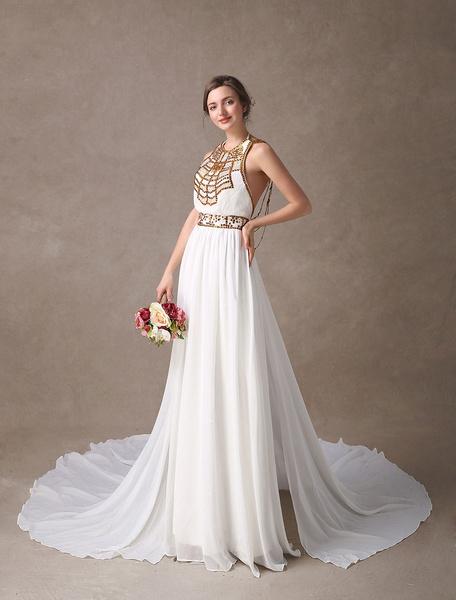 Milanoo Vestido de novia de chifon de color marfil de cola capilla