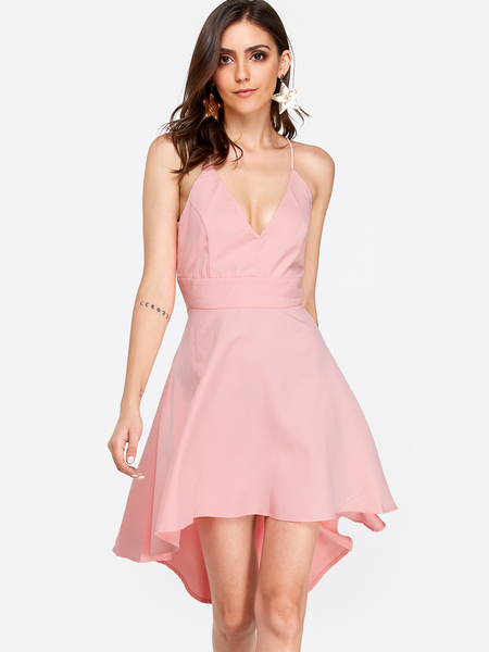 Yoins Pink Cut Out & Lace Back Irregular Hem Dress