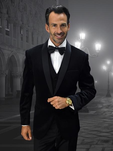 Alberto Nardoni Mens Velvet Suit Jacket & Pants (Matching ) Black