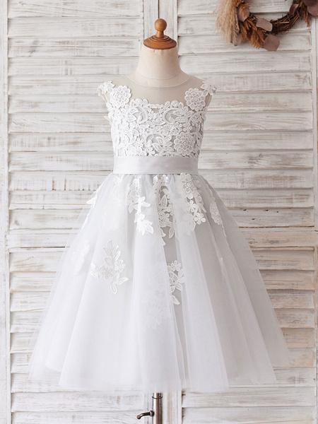 Milanoo Flower Girl Dresses Jewel Neck Sleeveless Buttons Formal Kids White Pageant Dresses