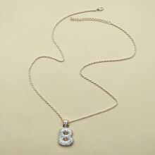 Rhinestone Letter Pendant Necklace