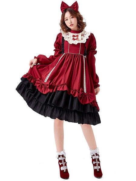Milanoo Sweet Lolita OP Dress Bows Burdeos Manga larga Lolita Vestidos de una pieza