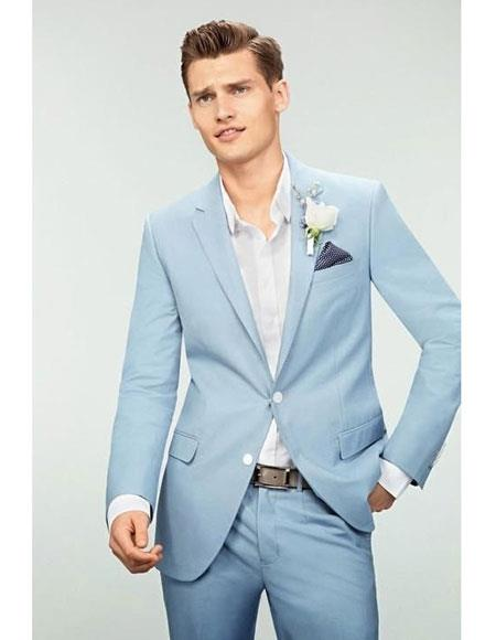 Mens Sky Blue Powder Blue ~ Ocean 2 Button Slim Fit Suit