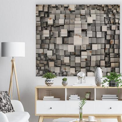 WD6830-46-36 Black And Grey Cubes - Contemporary Print On Natural Pine Wood -
