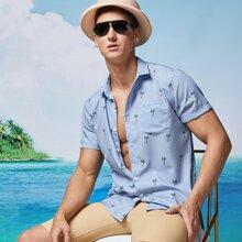 Men Tropical Print Button Front Shirt