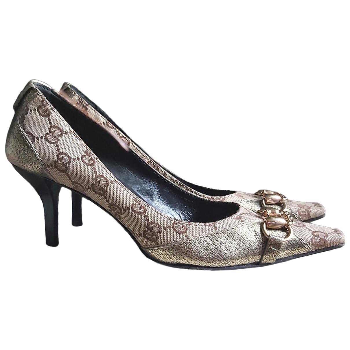 Gucci - Escarpins   pour femme en toile - dore