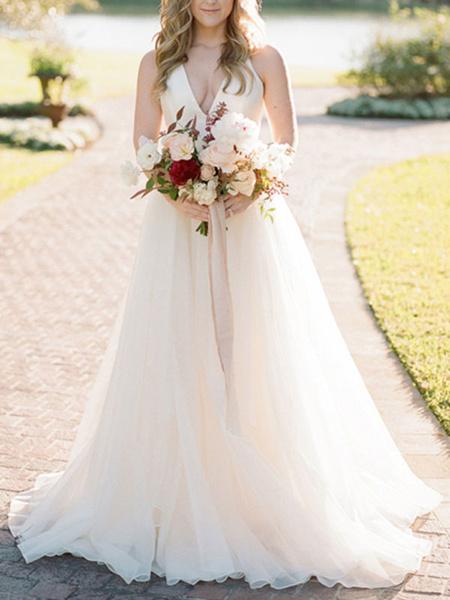 Milanoo Vestido de novia de una linea Vestido de novia de marfil con cuello en V sin tirantes con tirantes de espagueti