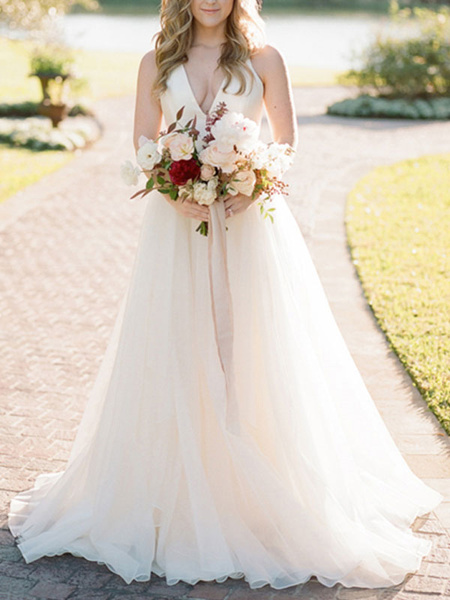 Milanoo A Line Wedding Dress Ivory Blackless V Neck Spaghetti Straps Wedding Dress