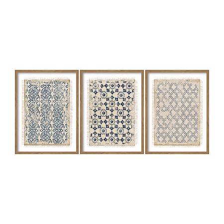 Boston Warehouse 19x25 Navy Geo Set 3 Framed Art, One Size , Blue