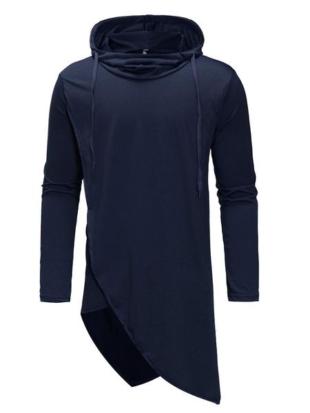 Milanoo Long Sleeve T Shirt Hooded Irregular Design Drawstring Longline Men Casual T Shirt