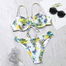 Bikini Badeanzug mit Blumen Muster, Band hinten und Buegel