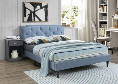 G1123-FB-UP Deb Collection All-In-One Full Bed with Tapered Legs  Button Tufted Details  and Faux Leather  in