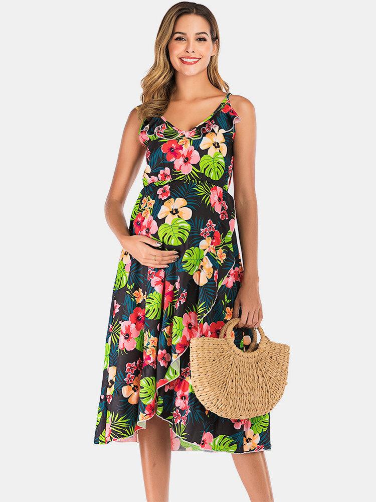 Maternity Summer Floral Sleeveless Casual Nursing Slip Dress