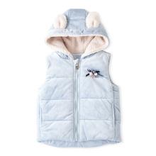 Toddler Girls 3D Ear Design Hooded Teddy Vest
