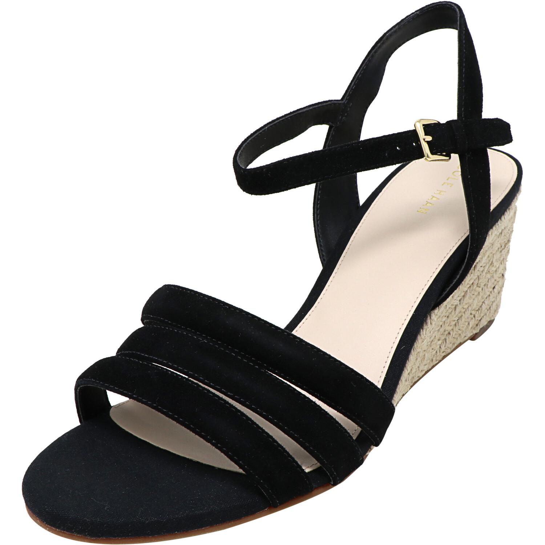 Cole Haan Women's Jasmine Espadrille Black Ankle-High Suede Wedged Sandal - 10M