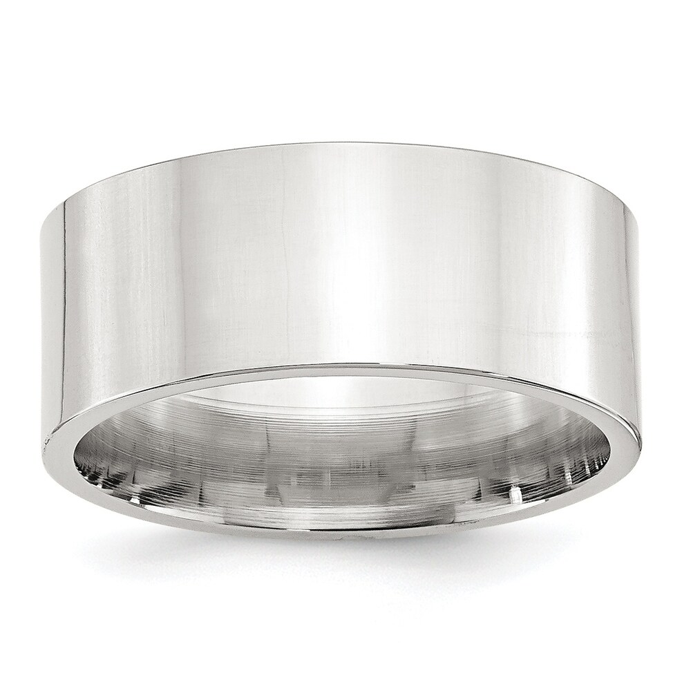 Sterling Silver 9mm Polished Comfort Fit Flat Band by Versil - White (9.5)