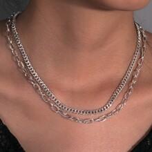 2pcs Metallic Chain Necklace