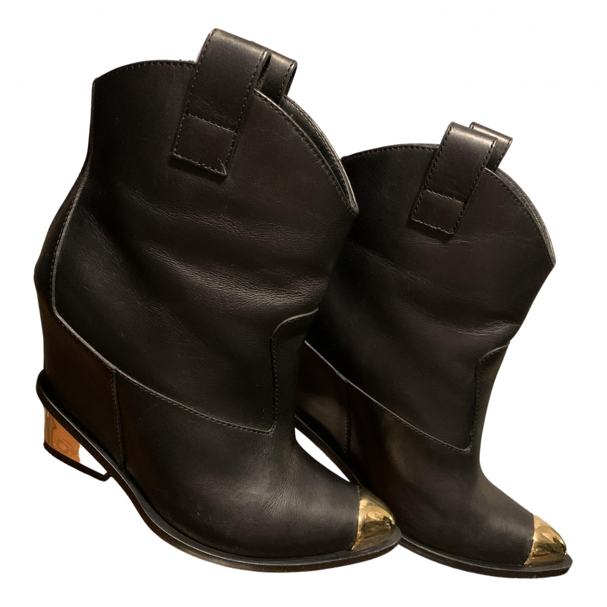 Giuseppe Zanotti N Black Leather Boots for Women 37.5 EU