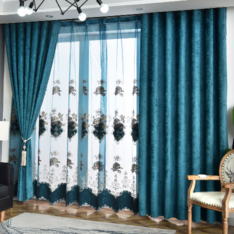 Modern Simple Chenille Blackout Curtains for Living Room Custom 2 Panels Drapes No Pilling No Fading No off-lining