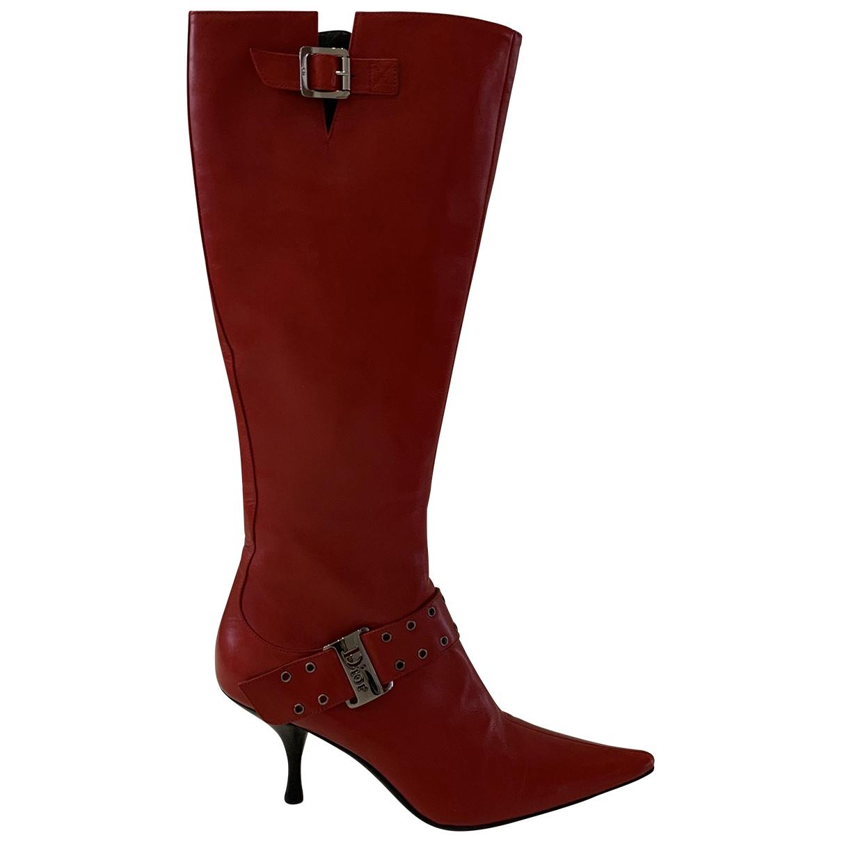 Dior - Bottes   pour femme en cuir - rouge