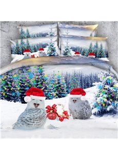 Lovely Christmas Owls 3D Printed 5-Piece Comforter Sets