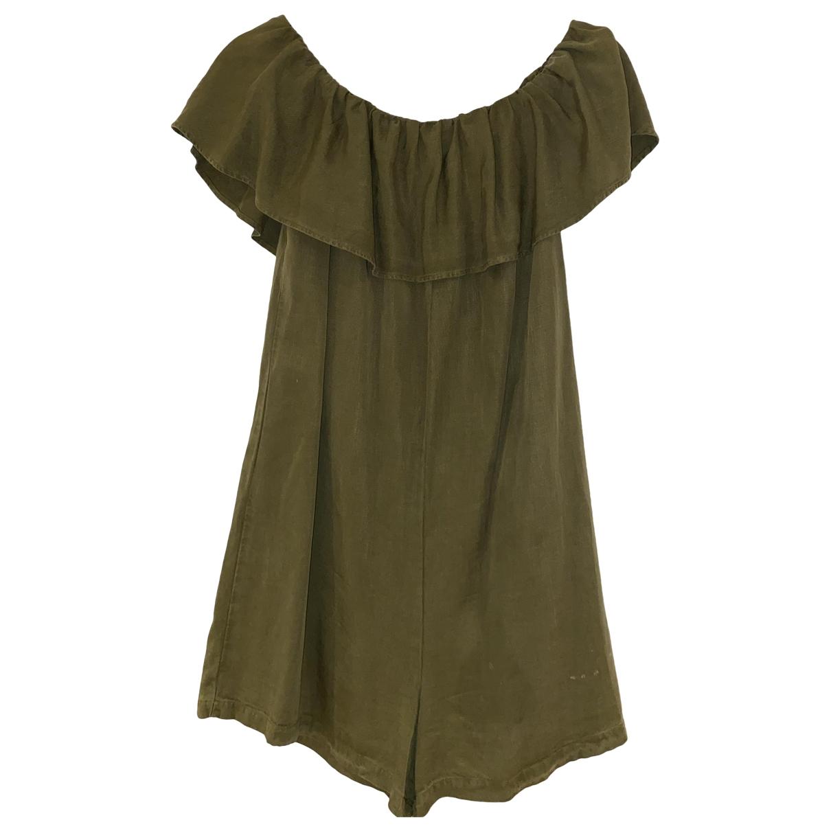 Zara \N Green Linen jumpsuit for Women M International