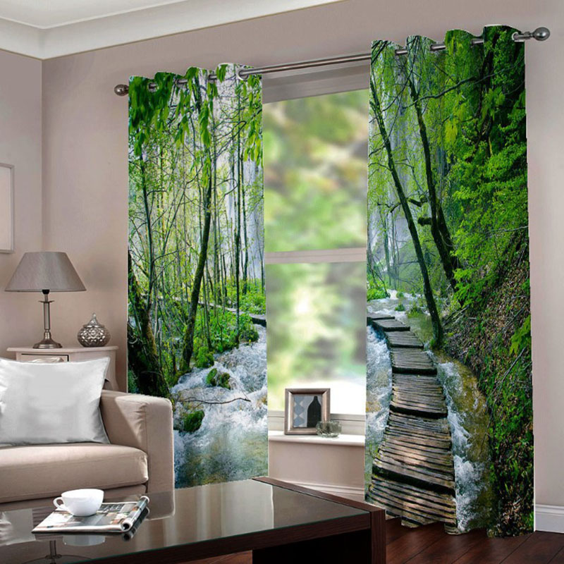 3D Stream Print Room Darkening Blackout and Decorative Curtains Thick Shading Polyester No Pilling No Fading No off-lining