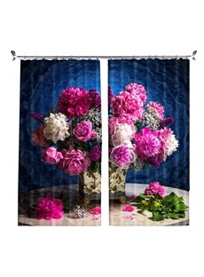 Flowers in Vase Still Life Pink&Red Flower Painting Curtain