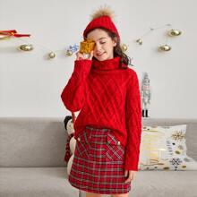 Jersey tejido de cable de cuello embudo de navidad