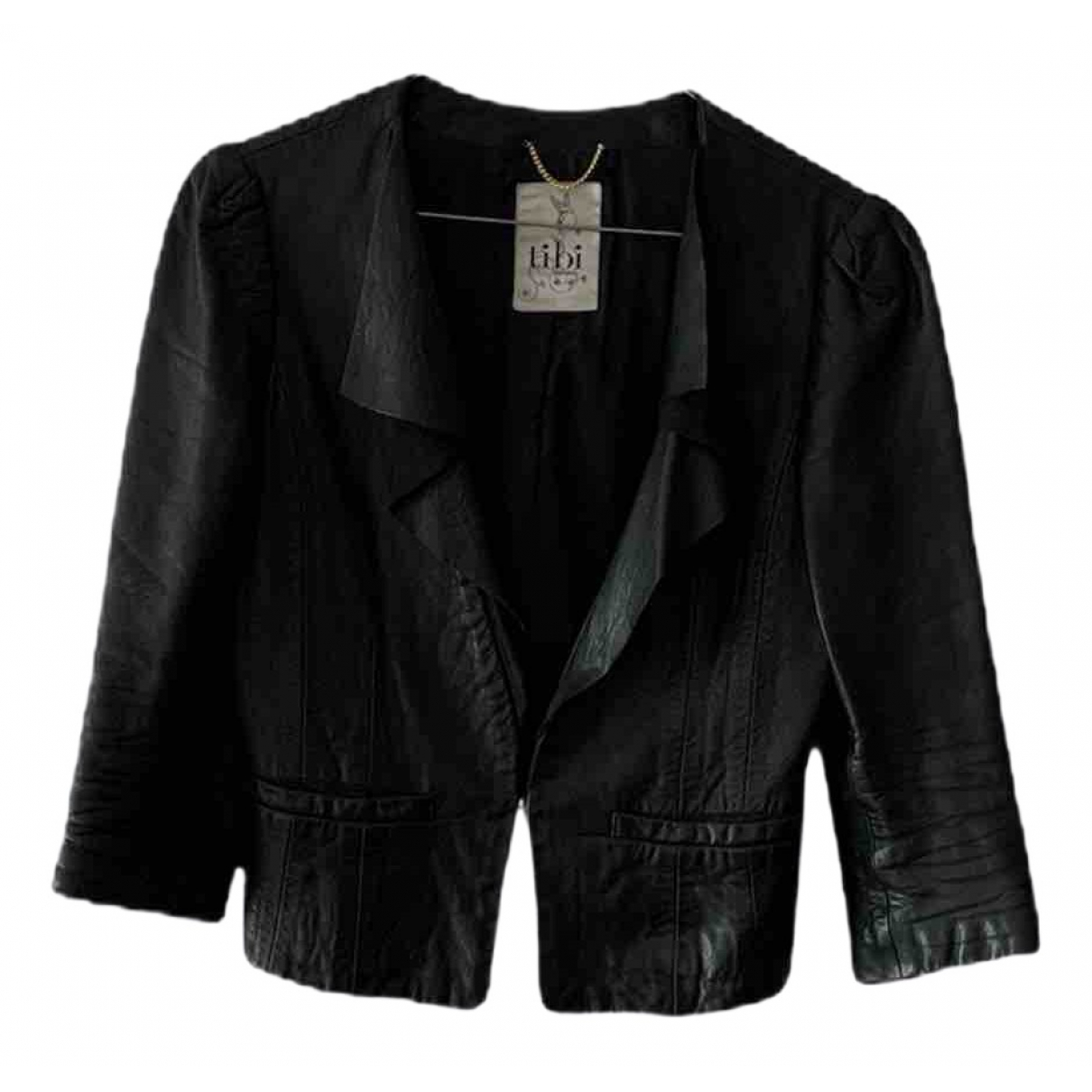Tibi \N Black Leather Leather jacket for Women 2 US