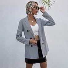 Zweireihiger Tweed Blazer mit Hahnentritt Muster