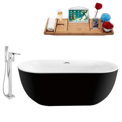 NH802-100 67 Oval Shaped Soaking Freestanding Tub With 66 Gallons Capacity  Modern Style  Acrylic And Fiberglass Construction  And Floor Mounted