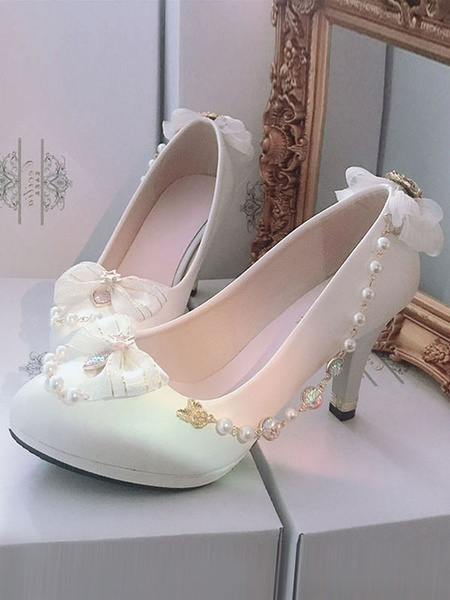 Milanoo Sweet Lolita Pump Pearl Bow Rhinestone White Lolita High Heel Shoes