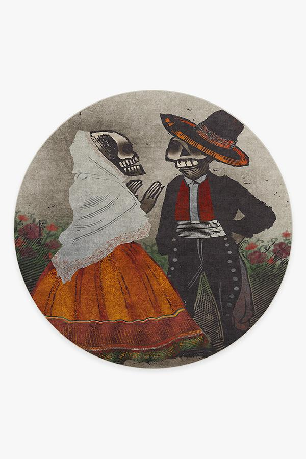 Washable Rug Cover & Pad | Jose Posada Feast of the Dead Rug | Stain-Resistant | Ruggable | 8' Round