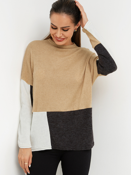Yoins Color Block Khaki & Black Plain Crew Neck Long Sleeves Loose Fit T-shirts
