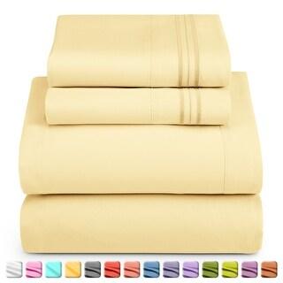Nestl Bedding Extra-Soft Microfiber Bed Sheet Set (King - Vanilla-Yellow)