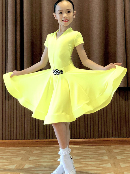 Milanoo Kids Latin Dance Costume Yellow Girls Lycra Spandex Dress Latin Dancer Costume