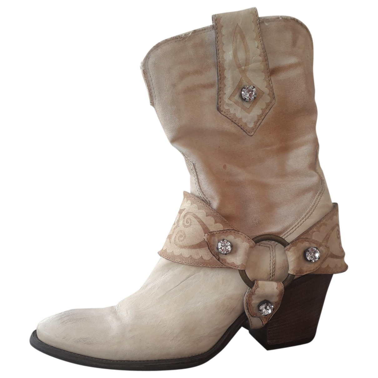 Janet & Janet \N Beige Cloth Ankle boots for Women 37.5 EU
