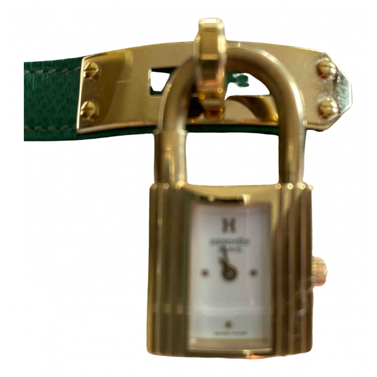 Hermes - Montre Kelly pour femme en plaque or - vert