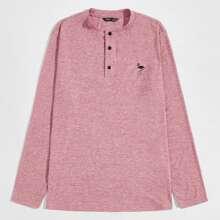 Men Buttoned Half Placket Flamingo Embroidery Top