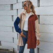 Abrigo de pana con boton de hombros caidos de color combinado
