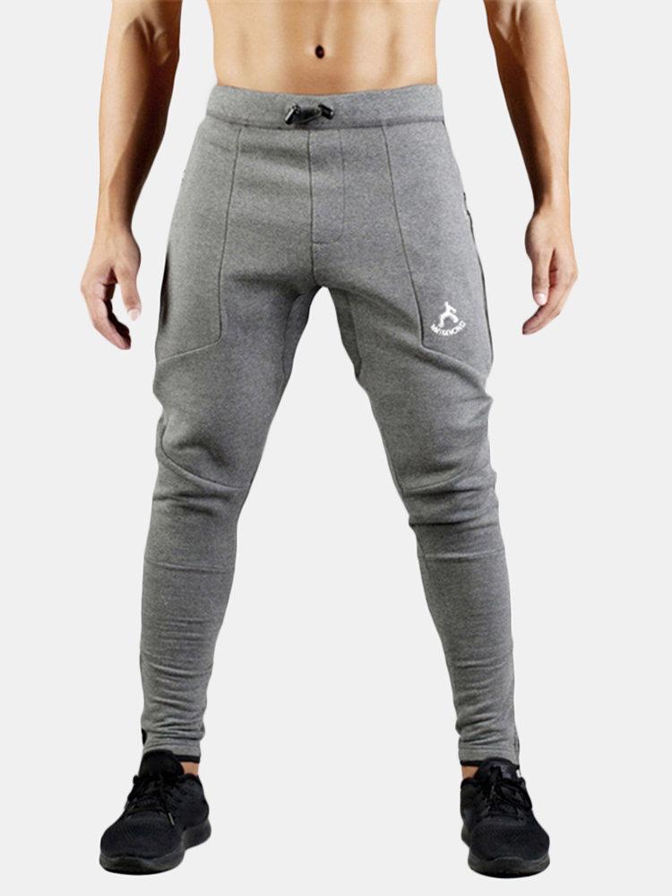 Mens Fleece Lined Warm Sport Running Training Drawstring Slim Fit Elastic Casual Pants