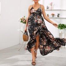 Maternity Kleid mit botanischem Muster, Zipfelsaum und Neckholder