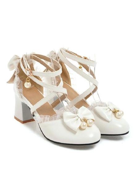 Milanoo Sweet Lolita Footwear Bow Lace High Heel PU Leather Lolita Pump Shoes
