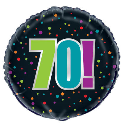 Birthday Cheer Age 70 Round Foil Balloon 18, Packaged For Birthday Party
