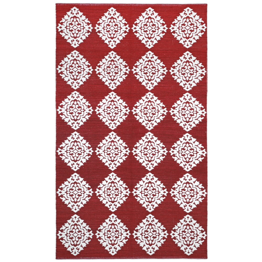 Red Medallion Cotton Jacquard Rug (Red 2'6