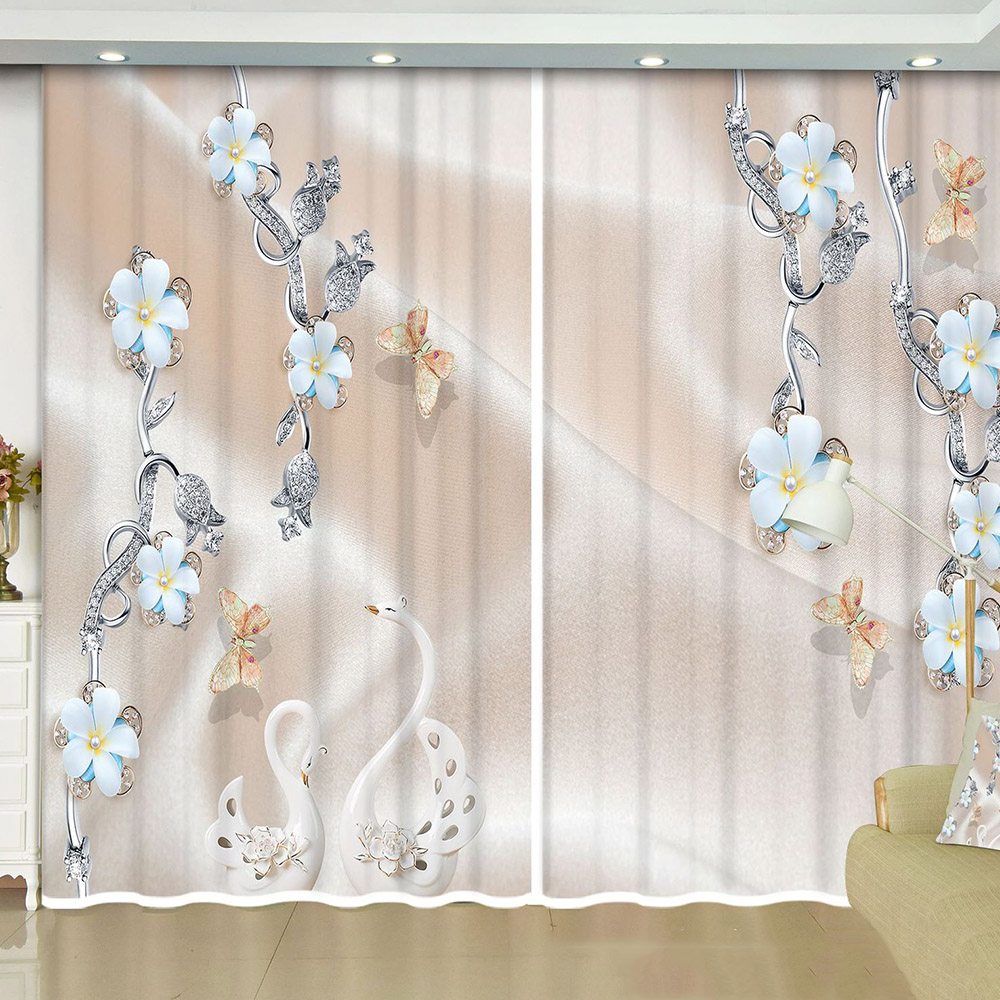 3D Elegant Decoration Blackout Window Curtains with Flower and Swan Pattern Custom 2 Panels Drapes No Pilling No Fading No off-lining
