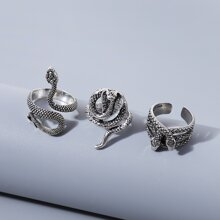 3 piezas anillo serpiente de hombres