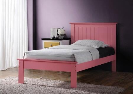Prentiss Collection 25435TN 2 PC Bedroom Set with Twin Size Bed + Nightstand in Pink
